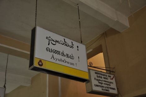Hello, in Singalese, Tamil and in latin characters