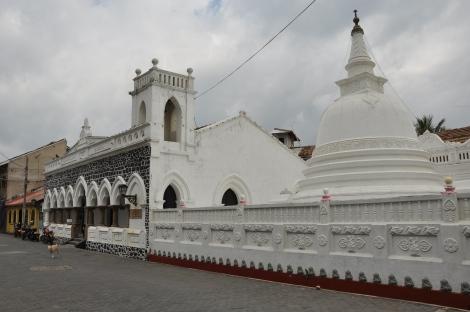 Church and stupa at Galle Fort. Sri Lanka