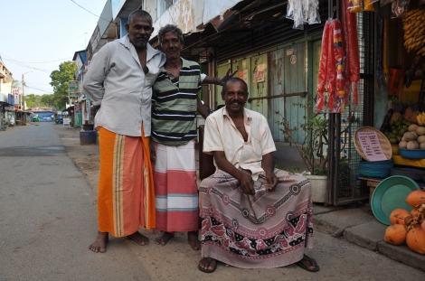 Sri Lanka traditional outfit for men... on the right side a batik lungi