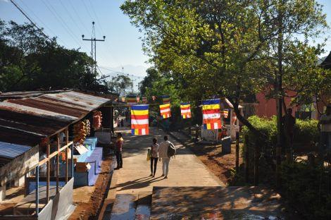 Buddist flags at Sri Pada. Sri Lanka