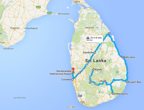 30 day in Sri Lanka. Central Hills, Southeast and East Coast. Itenerary
