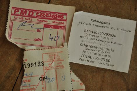 Bus Ticket. Sri Lanka